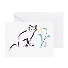 Cat & Flower 1 Greeting Cards (Pk of 10)