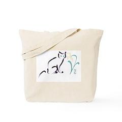 Cat & Flower 1 Tote Bag