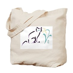 Cat & Flower 1 Tote Bag