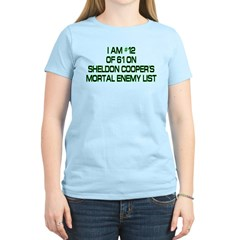 Sheldon's Mortal Enemy List Women's Light T-Shirt