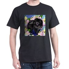 Chow Chow Dog Flowers Black T-Shirt