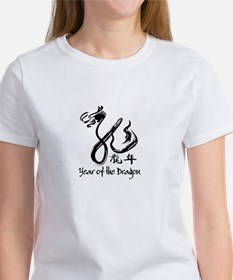 Year of the Dragon Black Calligraphy Women's T-Shi