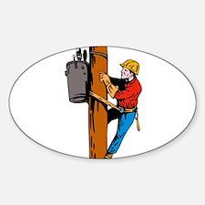 power lineman repairman Sticker (Oval)