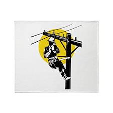 power lineman repairman Throw Blanket