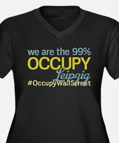 Occupy Leipzig Women's Plus Size V-Neck Dark T-Shi