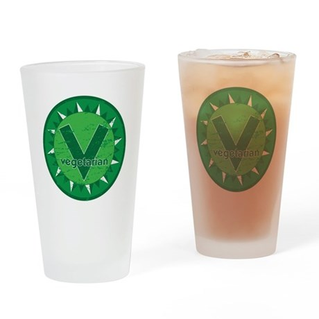 Vegetarian Green Logo Drinking Glass