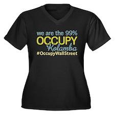 Occupy Kolamba Women's Plus Size V-Neck Dark T-Shi