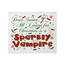 Dear Santa Sparkly Vampire Throw Blanket
