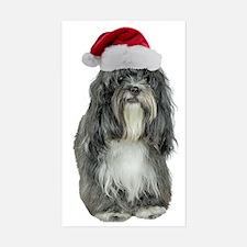 Tibetan Terrier Christmas Sticker (Rectangle)