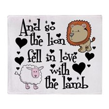 Lion fell in love with lamb Throw Blanket