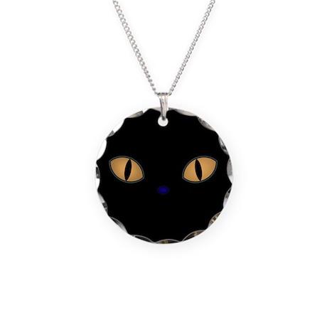 Golden Eye Cat Necklace Circle Charm