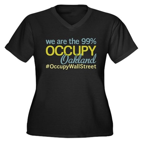 Occupy Oakland Women's Plus Size V-Neck Dark T-Shi