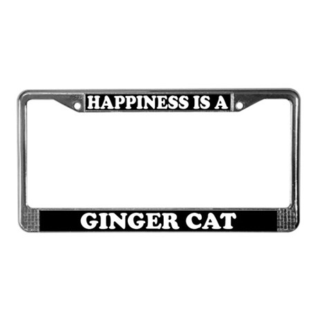 Happiness Is A Ginger Cat License Plate Frame