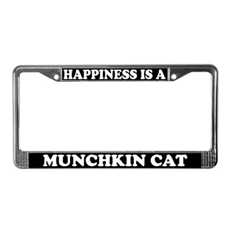 Happiness Is A Munchkin Cat License Plate Frame