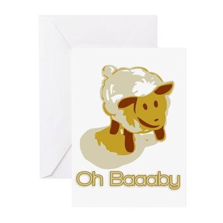 Oh Baaaby, yellow Greeting Cards (Pk of 10)