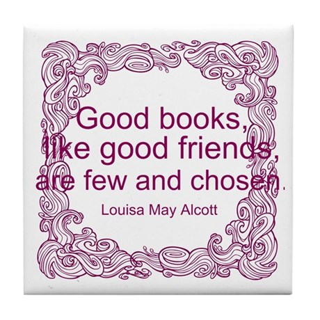 Good Books (berry) Tile Coaster