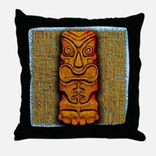 Carved Tiki Statue Throw Pillow