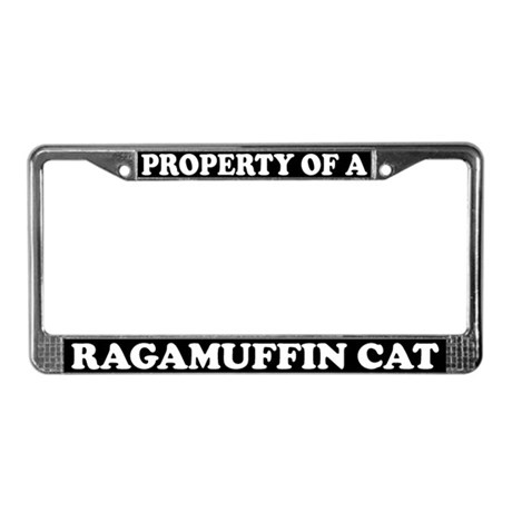 Property Of A Ragamuffin Cat License Plate Frame