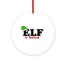 'Elf In Training' Ornament (Round)