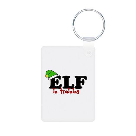 'Elf In Training' Aluminum Photo Keychain