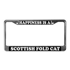 Happiness Is Scottish Fold Cat License Plate Frame