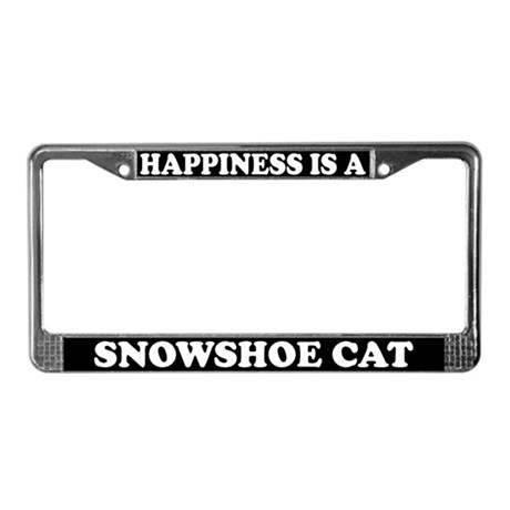 Happiness Is A Snowshoe Cat License Plate Frame