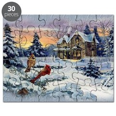 New England Winter Cottage Puzzle