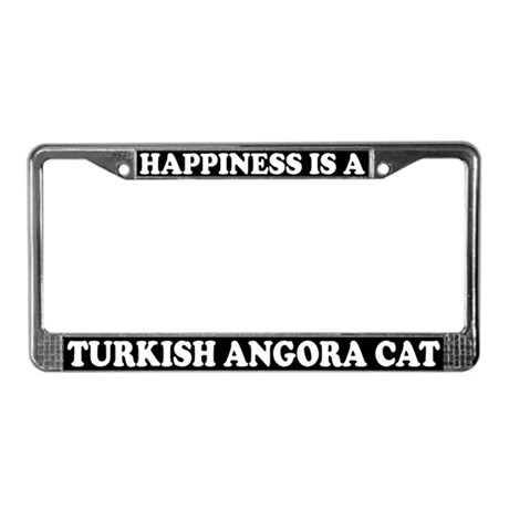Happiness Turkish Angora Cat License Plate Frame