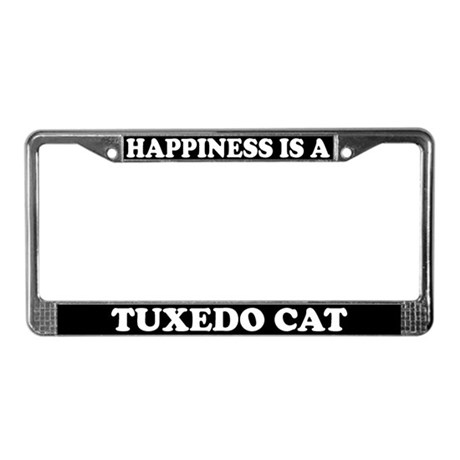 Happiness Is A Tuxedo Cat License Plate Frame