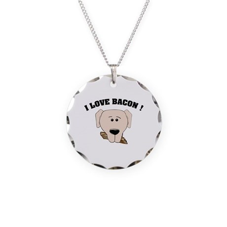 I Love Bacon Necklace Circle Charm