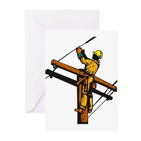 power lineman repairman Greeting Cards (Pk of 20)