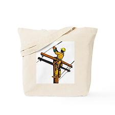 power lineman repairman Tote Bag