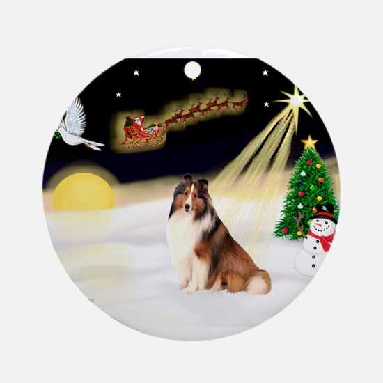 Night Flight/Sheltie #7 Ornament (Round)