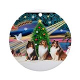 Three shetland sheepdogs Round Ornaments