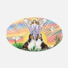 Blessings / 2 Shelties 22x14 Oval Wall Peel