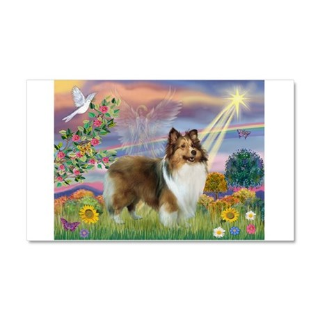 Cloud Angel & Sheltie Car Magnet 20 x 12