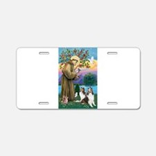 St Francis / Two Shelties Aluminum License Plate
