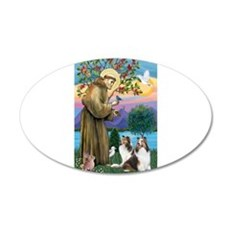 St Francis / Two Shelties 22x14 Oval Wall Peel