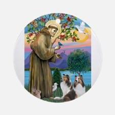 St Francis / Two Shelties Ornament (Round)