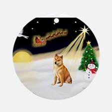 Night Flight/Shiba Inu #7 Ornament (Round)