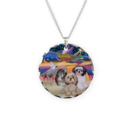 XmasStar/3 Shih Tzus Necklace Circle Charm