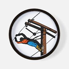 power lineman repairman Wall Clock