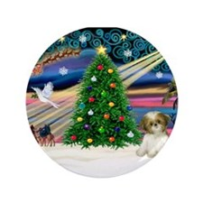 "XmasMagic/Shih Tzu pup 3.5"" Button"