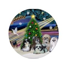 "Xmas Magic/5 Shih Tzus 3.5"" Button"