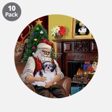 "Santa's Shih Tzu (#1) 3.5"" Button (10 pack)"