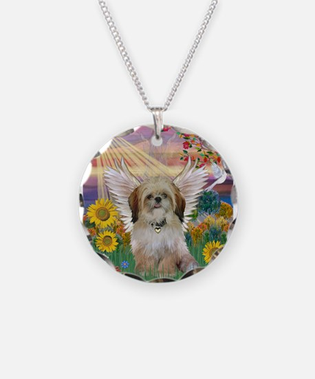 Autumn Sun & Shih Tzu Necklace Circle Charm