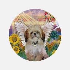 """Autumn Sun & Shih Tzu 3.5"""" Button"""