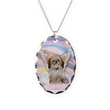 Angel Shih Tzu in Clouds Necklace Oval Charm