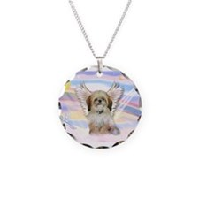 Angel Shih Tzu in Clouds Necklace Circle Charm