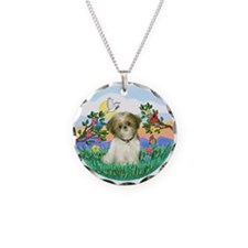 Happy Day Shih Tzu Necklace Circle Charm